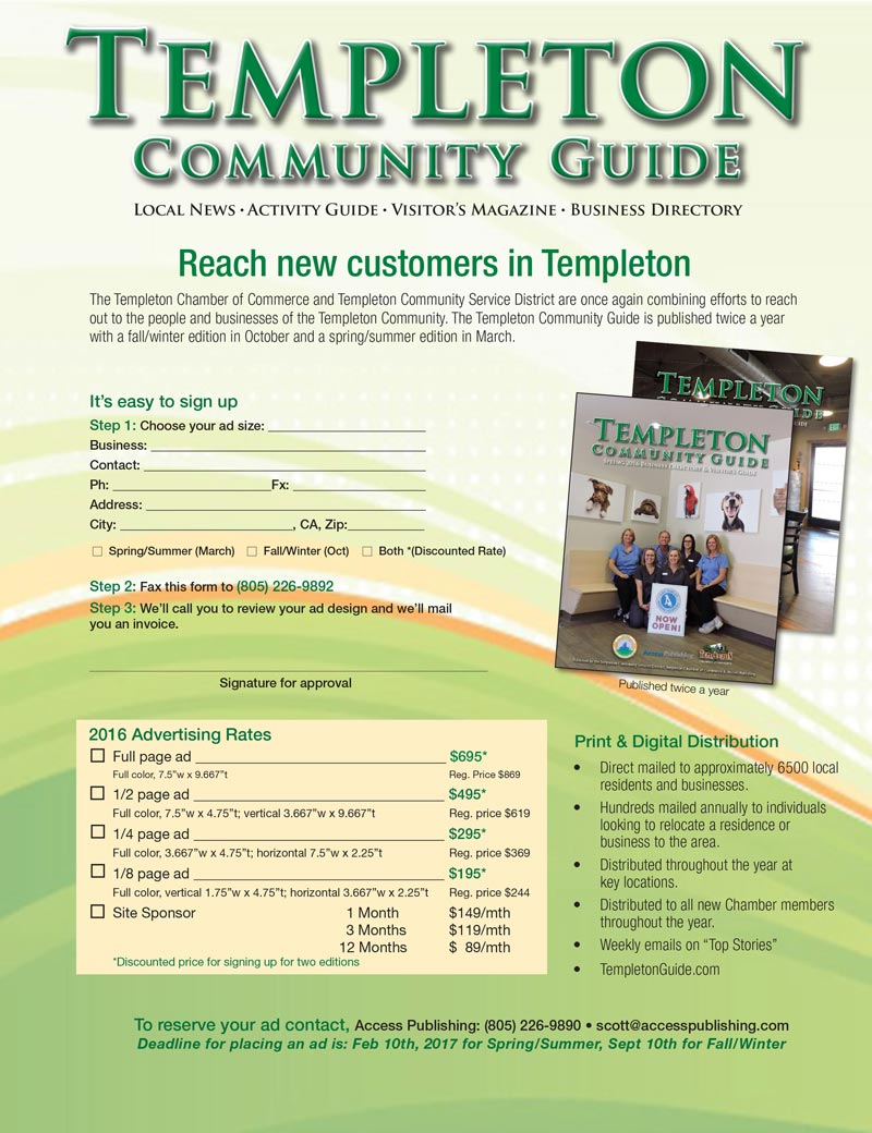 Templeton Chamber Guide flyer