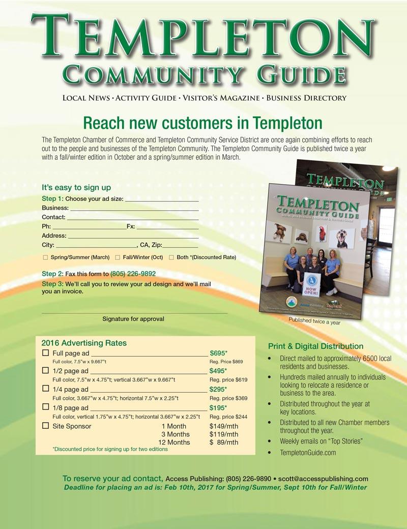 Templeton Chamber Guide flyer