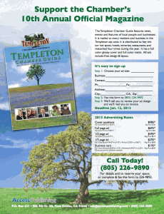 Advertising information for the Templeton Chamber Guide