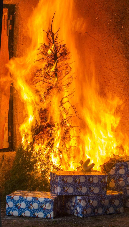 Xmas tree on fire