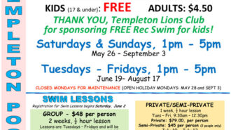 Templeton summer pool schedule