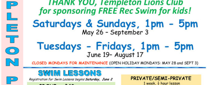 Templeton summer pool schedule
