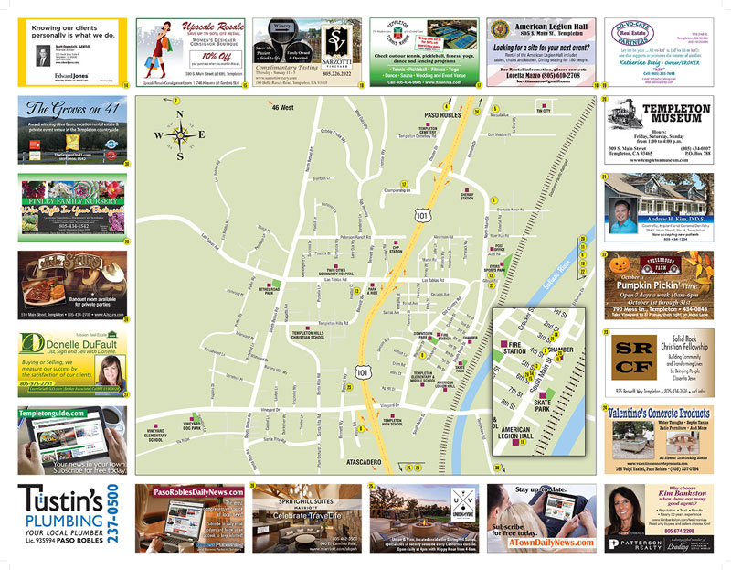 Templeton Area Map with advertisers