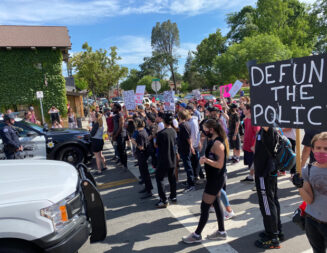 Protest and march closes streets in downtown Paso Robles, ends peacefully with prayer