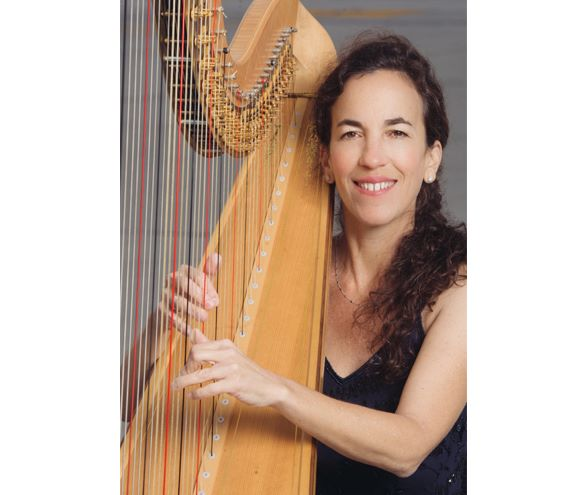 Harpist Marcia Dickstein. Photo credit credit to SLO Symphony.